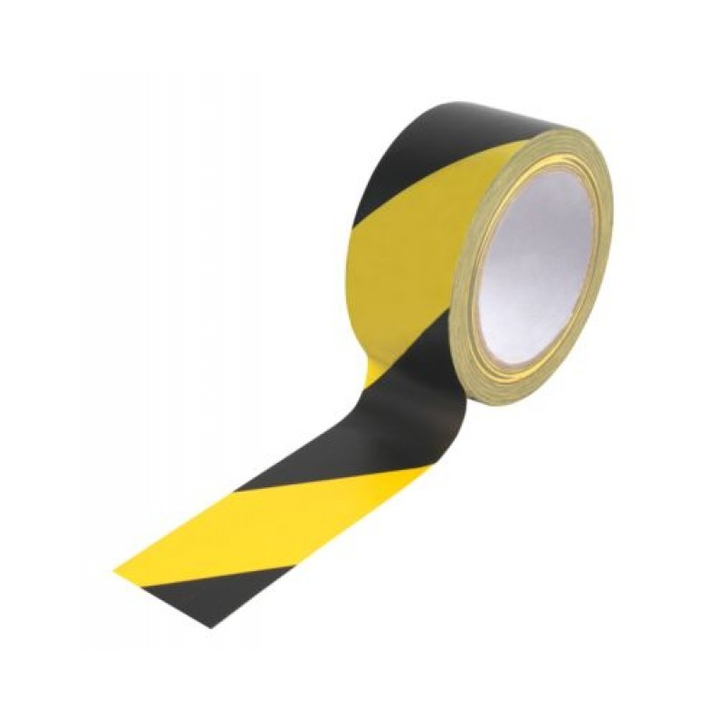 50mm x 33M Yellow and Black Stripe Adhesive Hazard Tape Pack of 2
